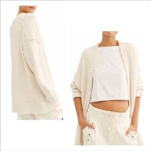Free People High Hopes Cardigan Ivory open front